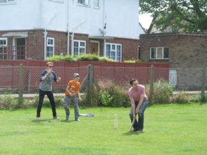 Cricket will be one of the more normal games we play unlike wellie wanging!